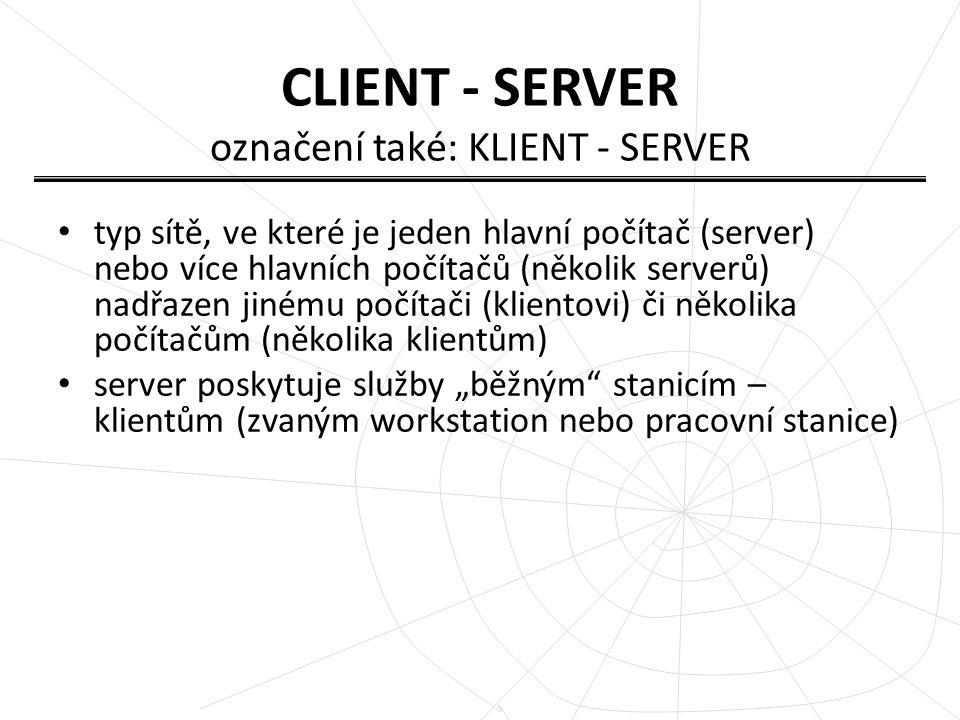 Serverů může být více typů podle poskytovaných služeb – souborový server (poskytuje přístup k souborům) – tiskový server (propojuje tiskárnu s klientem) – poštovní server (přenáší elektronickou poštu) – WWW server (vyřizuje požadavky webových prohlížečů) – FTP server (přenos souborů mezi počítači) atd.
