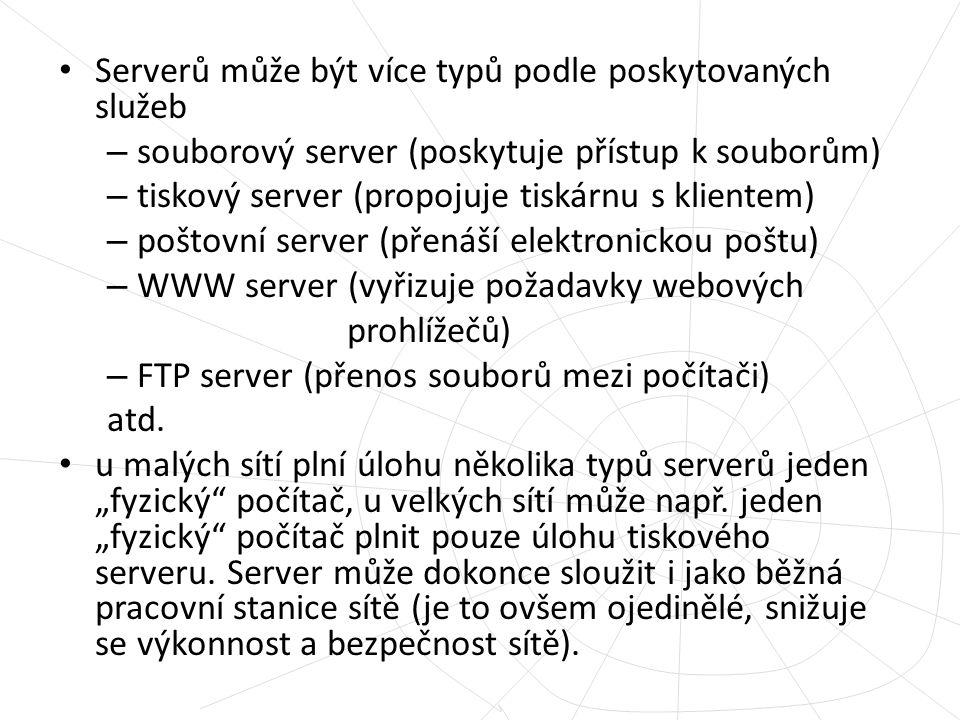 Serverů může být více typů podle poskytovaných služeb – souborový server (poskytuje přístup k souborům) – tiskový server (propojuje tiskárnu s kliente