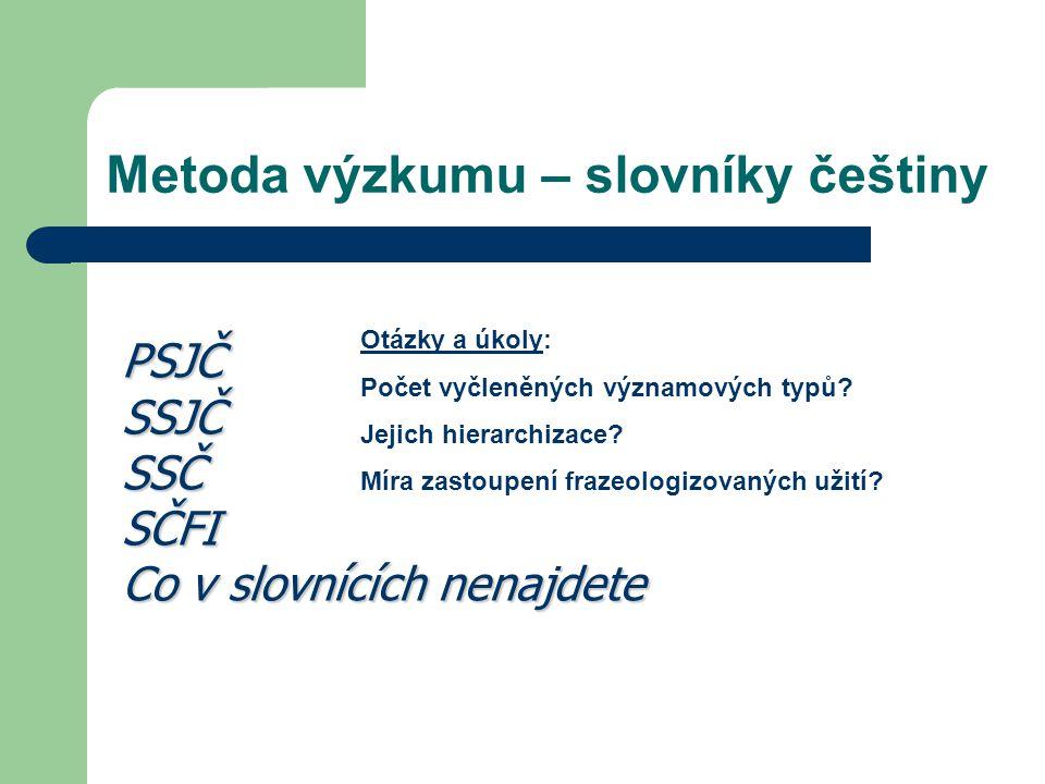 Metoda výzkumu – slovníky češtiny PSJČSSJČSSČSČFI Co v slovnících nenajdete Otázky a úkoly: Počet vyčleněných významových typů? Jejich hierarchizace?