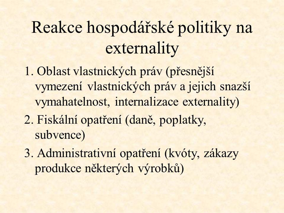 Reakce hospodářské politiky na externality 1. Oblast vlastnických práv (přesnější vymezení vlastnických práv a jejich snazší vymahatelnost, internaliz