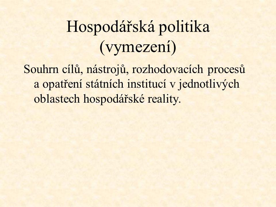 Hospodářská politika (vymezení) Souhrn cílů, nástrojů, rozhodovacích procesů a opatření státních institucí v jednotlivých oblastech hospodářské realit