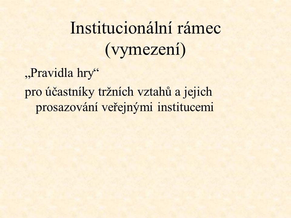 """Institucionální rámec (vymezení) """"Pravidla hry"""" pro účastníky tržních vztahů a jejich prosazování veřejnými institucemi"""