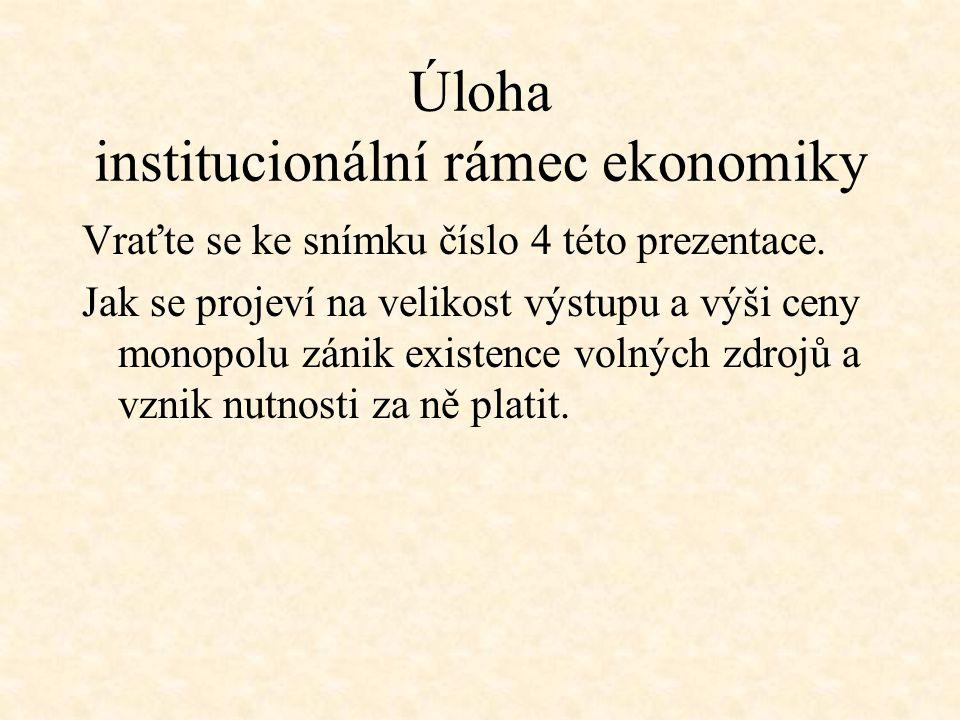 Úloha institucionální rámec ekonomiky Vraťte se ke snímku číslo 4 této prezentace. Jak se projeví na velikost výstupu a výši ceny monopolu zánik exist