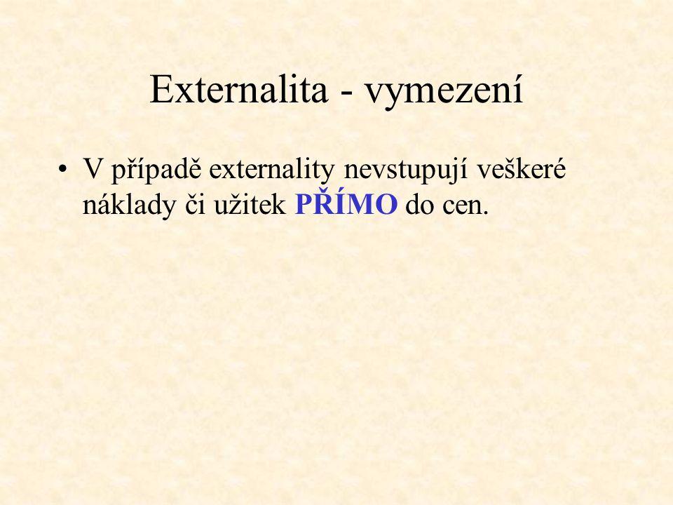 Externalita - vymezení V případě externality nevstupují veškeré náklady či užitek PŘÍMO do cen.