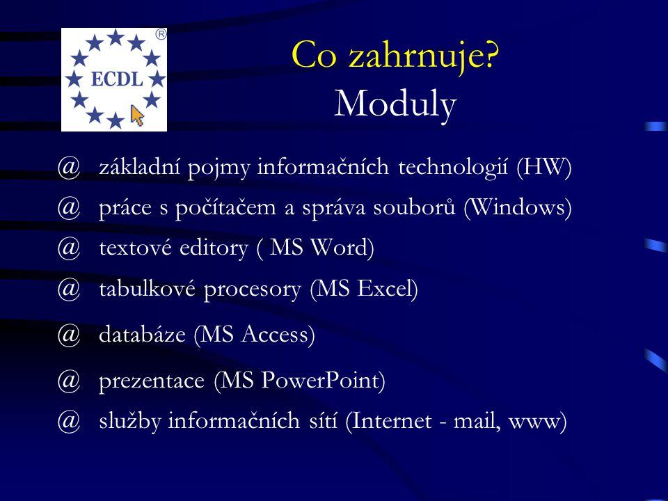 Co zahrnuje? Moduly @základní pojmy informačních technologií (HW) @práce s počítačem a správa souborů (Windows) @textové editory ( MS Word) @tabulkové