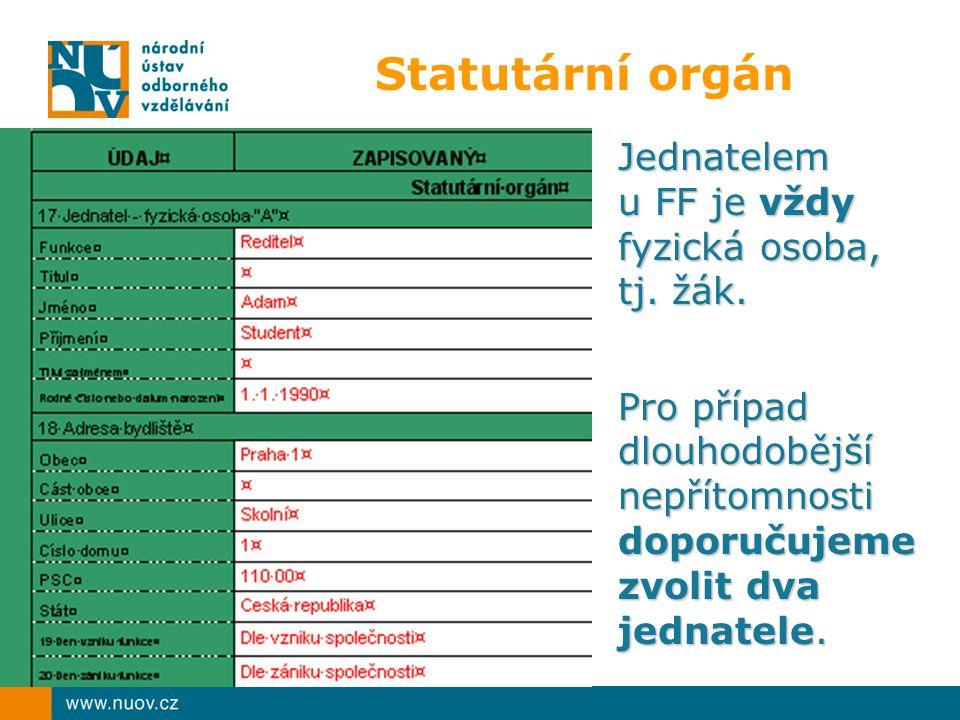 Statutární orgán Jednatelem u FF je vždy fyzická osoba, tj.