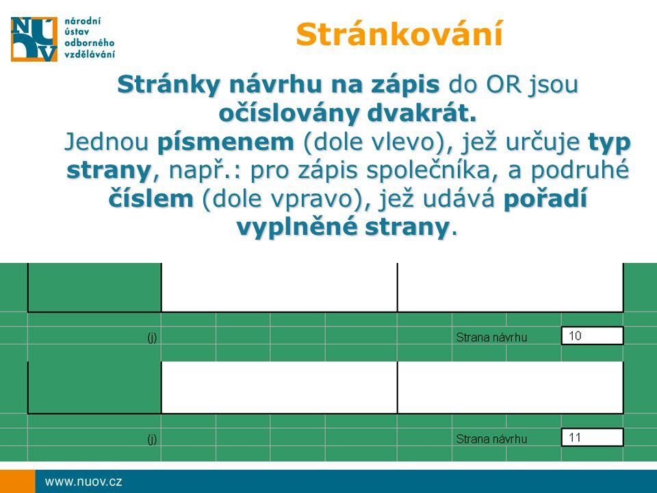 Stránkování Stránky návrhu na zápis do OR jsou očíslovány dvakrát.
