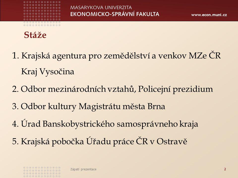 www.econ.muni.cz Stáže 1. Krajská agentura pro zemědělství a venkov MZe ČR Kraj Vysočina 2.
