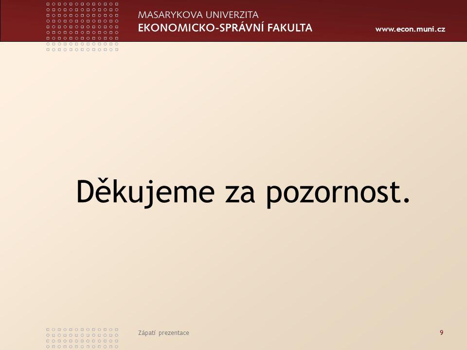 www.econ.muni.cz Děkujeme za pozornost. Zápatí prezentace9