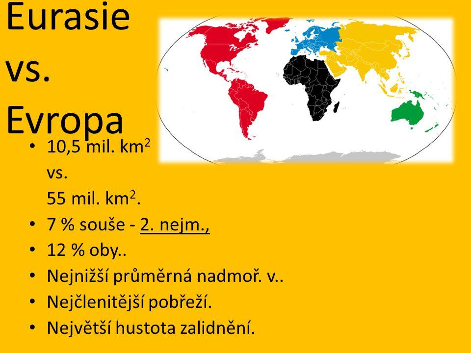 Eurasie vs. Evropa 10,5 mil. km 2 vs. 55 mil. km 2. 7 % souše - 2. nejm., 12 % oby.. Nejnižší průměrná nadmoř. v.. Nejčlenitější pobřeží. Největší hus