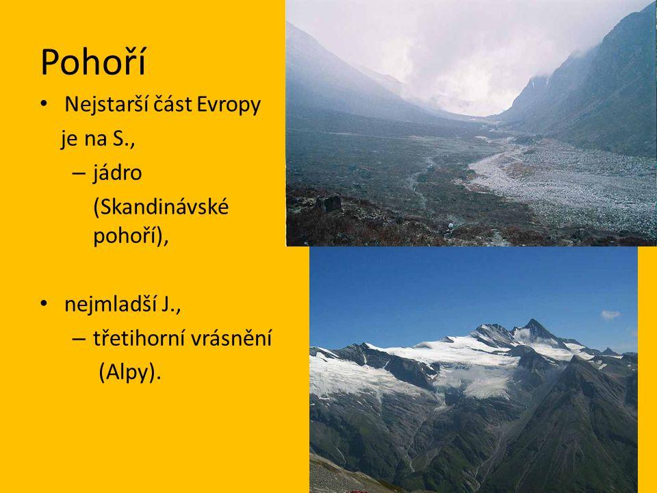 Pohoří Nejstarší část Evropy je na S., – jádro (Skandinávské pohoří), nejmladší J., – třetihorní vrásnění (Alpy).