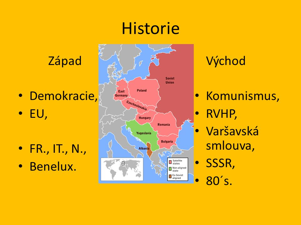 Historie Západ Demokracie, EU, FR., IT., N., Benelux. Východ Komunismus, RVHP, Varšavská smlouva, SSSR, 80´s.