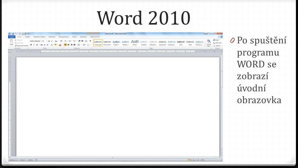Word 2010 0 Skládá se z jednotlivých částí: 0 Tlačítko Soubor 0 Kliknutím na toto tlačítko se Vám zobrazí nové menu