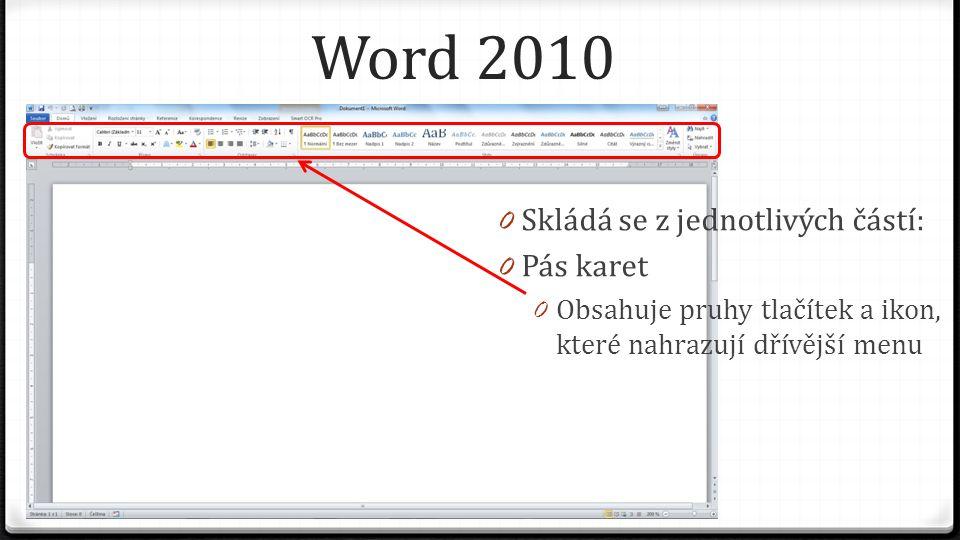Word 2010 – pás karet 0 Existuje více karet a každá z těchto karet má své skupiny příkazů a své jednotlivé příkazy 0 Karta Domů – obsahuje nejčastěji používané příkazy