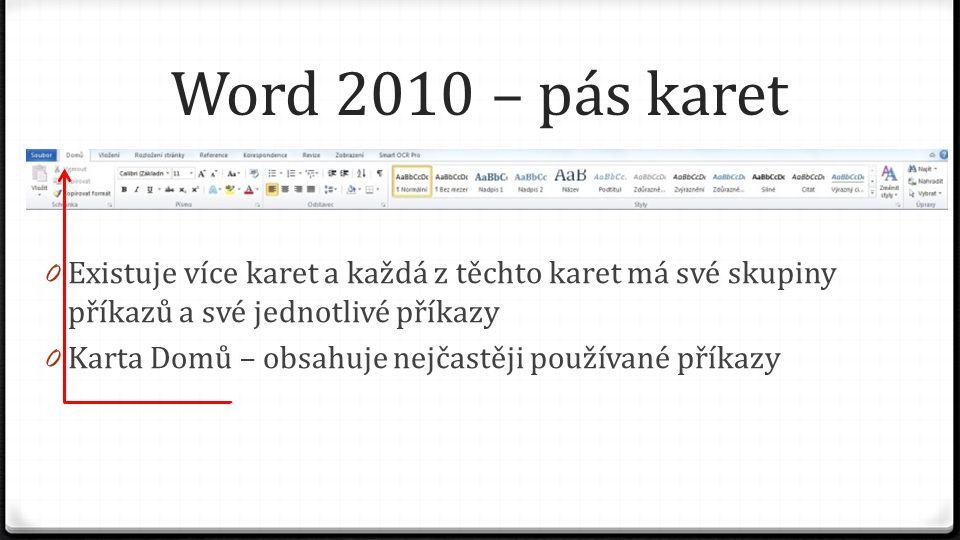 Word 2010 – pás karet 0 Existuje více karet a každá z těchto karet má své skupiny příkazů a své jednotlivé příkazy 0 Karta Vložení – seskupuje příkazy pro vkládání objektů do dokumentu