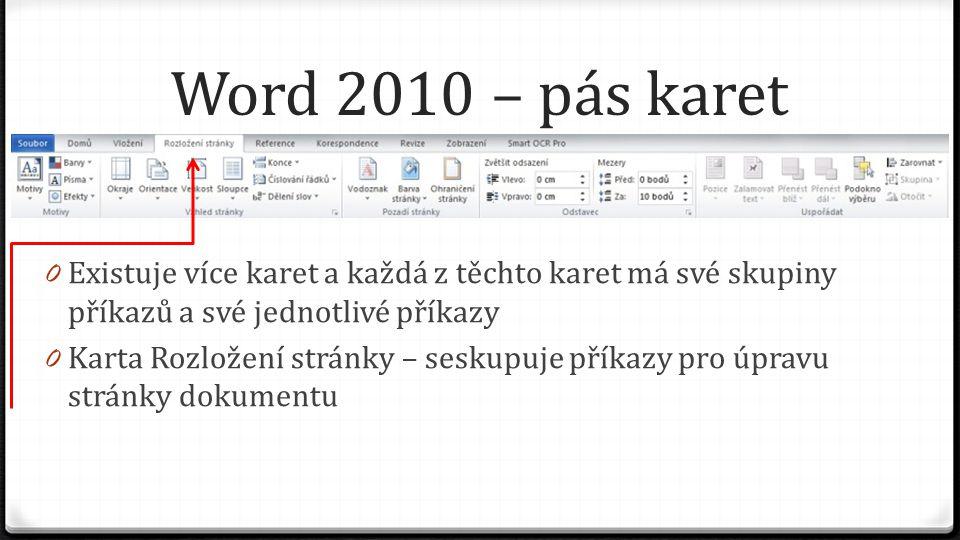 Word 2010 – pás karet 0 Existuje více karet a každá z těchto karet má své skupiny příkazů a své jednotlivé příkazy 0 Karta Reference – seskupuje příkazy pro tvorbu obsahu, titulků, rejstříku …