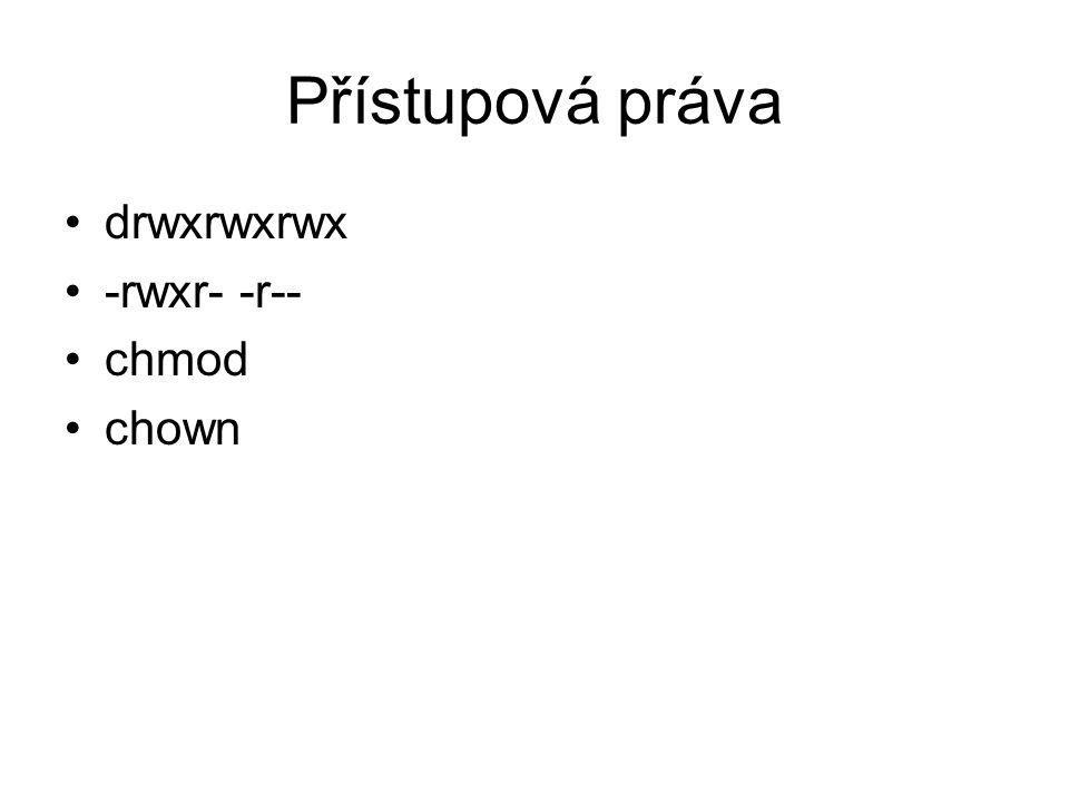 Přístupová práva drwxrwxrwx -rwxr- -r-- chmod chown