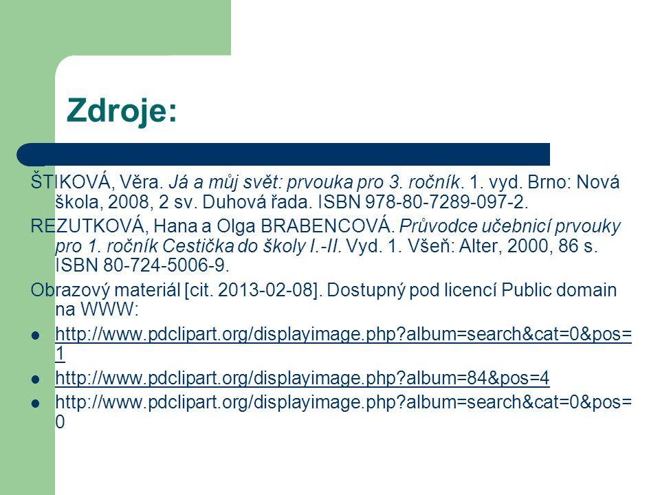 Zdroje: ŠTIKOVÁ, Věra. Já a můj svět: prvouka pro 3. ročník. 1. vyd. Brno: Nová škola, 2008, 2 sv. Duhová řada. ISBN 978-80-7289-097-2. REZUTKOVÁ, Han