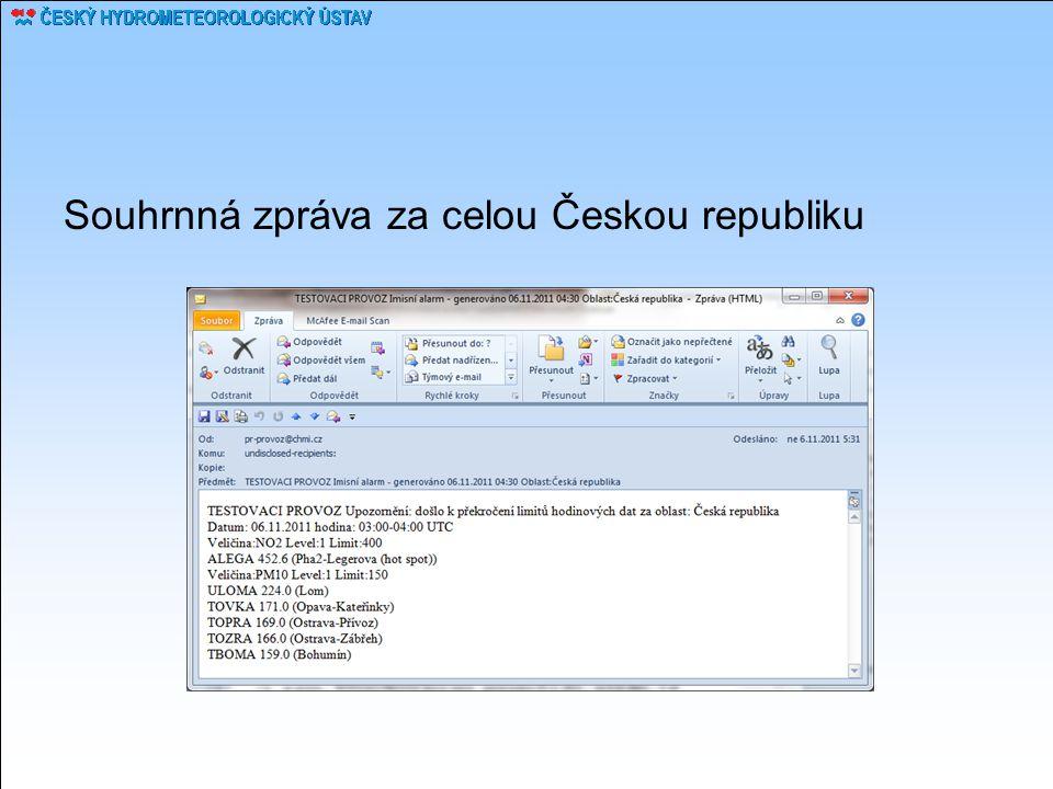 Souhrnná zpráva za celou Českou republiku