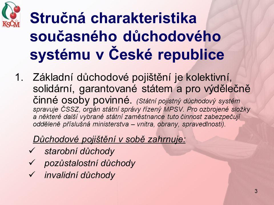3 Stručná charakteristika současného důchodového systému v České republice 1.Základní důchodové pojištění je kolektivní, solidární, garantované státem