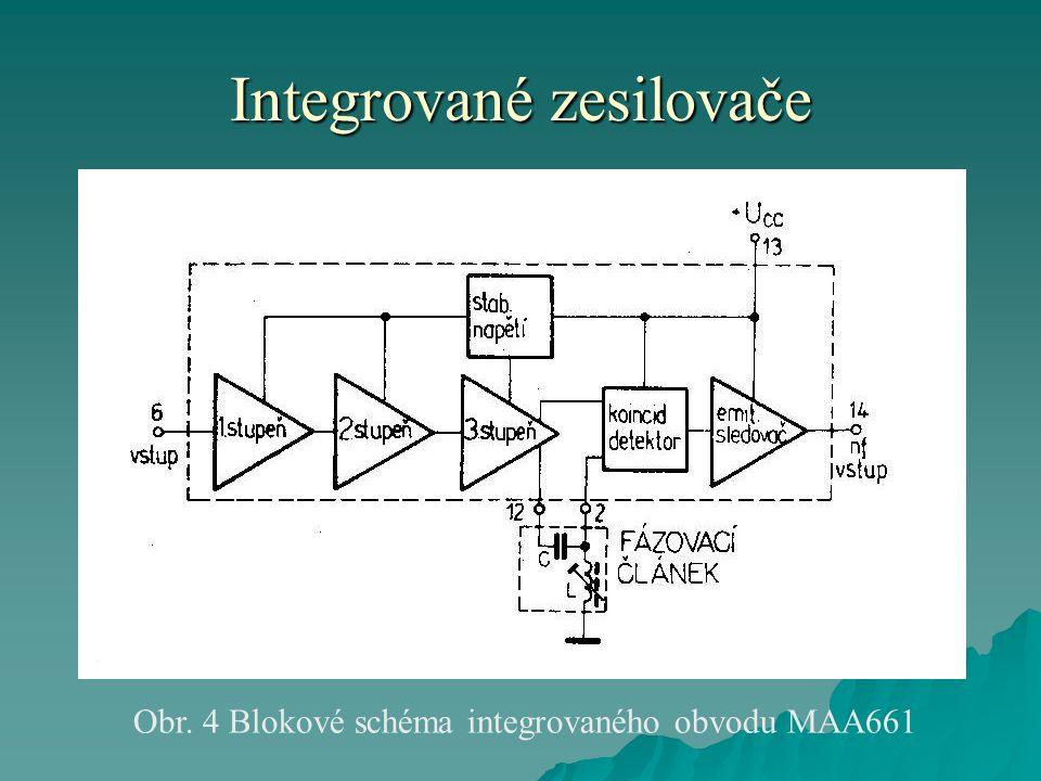 Integrované zesilovače Obr. 4 Blokové schéma integrovaného obvodu MAA661