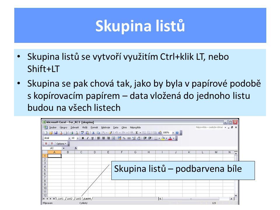 Skupina listů se vytvoří využitím Ctrl+klik LT, nebo Shift+LT Skupina se pak chová tak, jako by byla v papírové podobě s kopírovacím papírem – data vložená do jednoho listu budou na všech listech Skupina listů Skupina listů – podbarvena bíle
