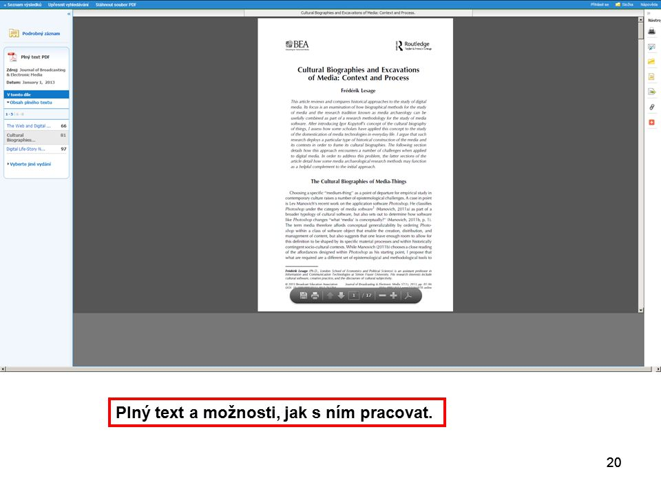 20 Plný text a možnosti, jak s ním pracovat. 20