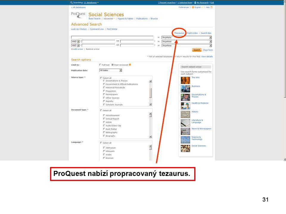 31 ProQuest nabízí propracovaný tezaurus.