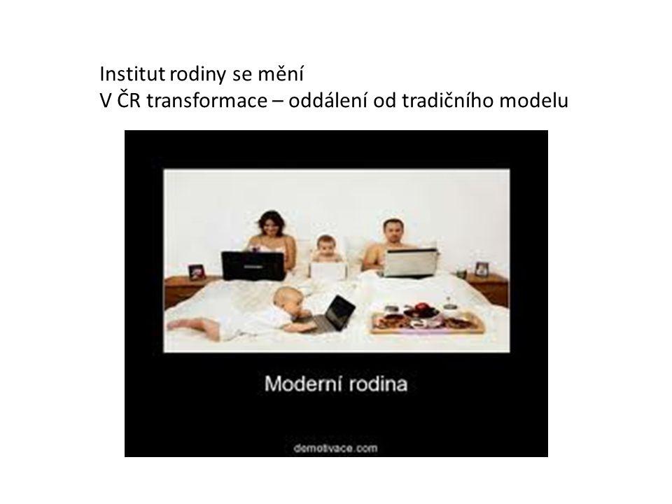 Institut rodiny se mění V ČR transformace – oddálení od tradičního modelu