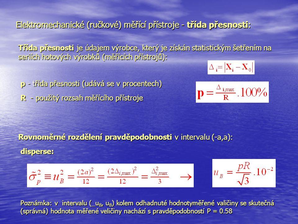 Elektromechanické (ručkové) měřící přístroje - třída přesnosti: Třída přesnosti je údajem výrobce, který je získán statistickým šetřením na seriích ho