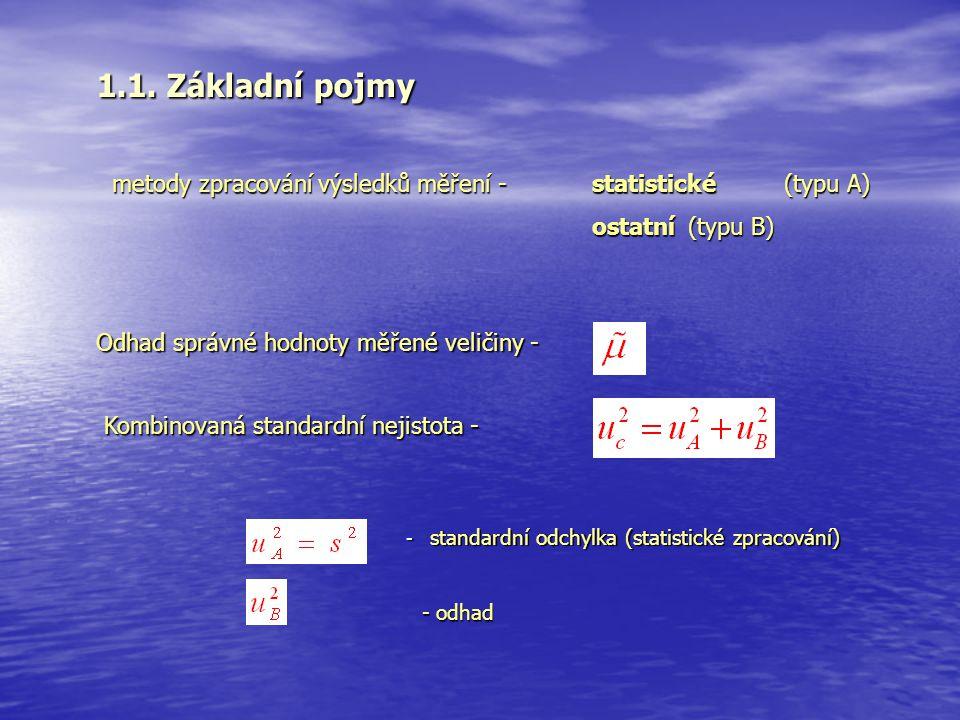 1.1. Základní pojmy metody zpracování výsledků měření - statistické (typu A) ostatní (typu B) Kombinovaná standardní nejistota - - standardní odchylka