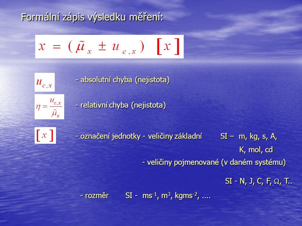 Formální zápis výsledku měření: - absolutní chyba (nejistota) - relativní chyba (nejistota) - označení jednotky - veličiny základní SI – m, kg, s, A,