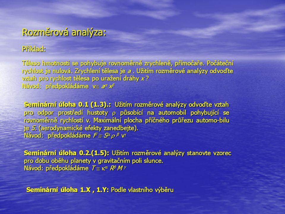 Rozměrová analýza: Příklad: Těleso hmotnosti se pohybuje rovnoměrně zrychleně, přímočaře. Počáteční rychlost je nulová. Zrychlení tělesa je a. Užitím