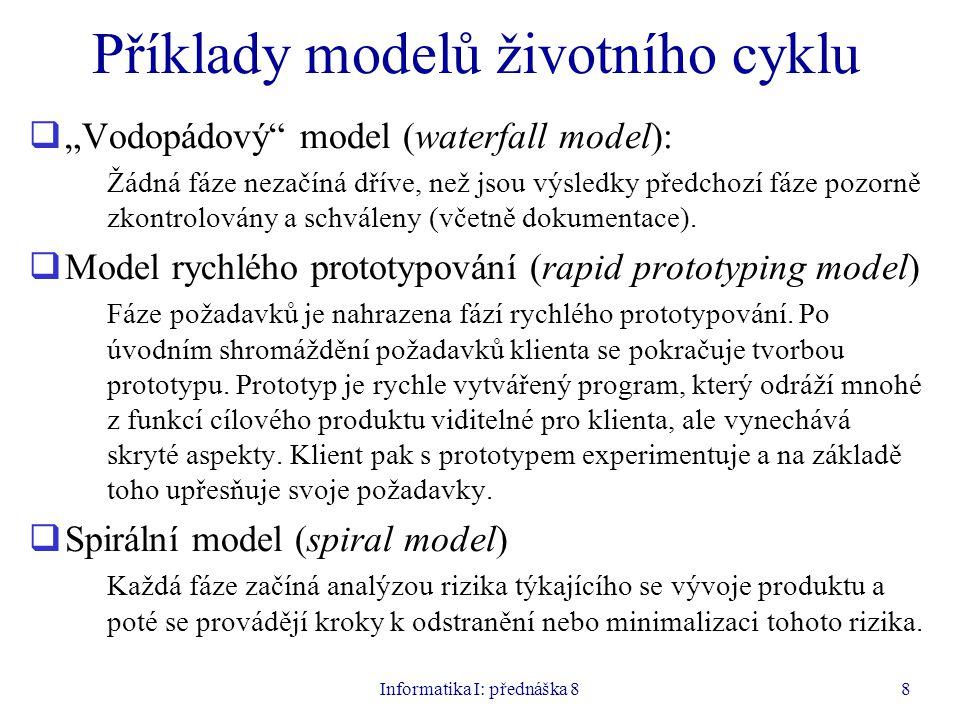 """Informatika I: přednáška 88 Příklady modelů životního cyklu  """"Vodopádový model (waterfall model): Žádná fáze nezačíná dříve, než jsou výsledky předchozí fáze pozorně zkontrolovány a schváleny (včetně dokumentace)."""