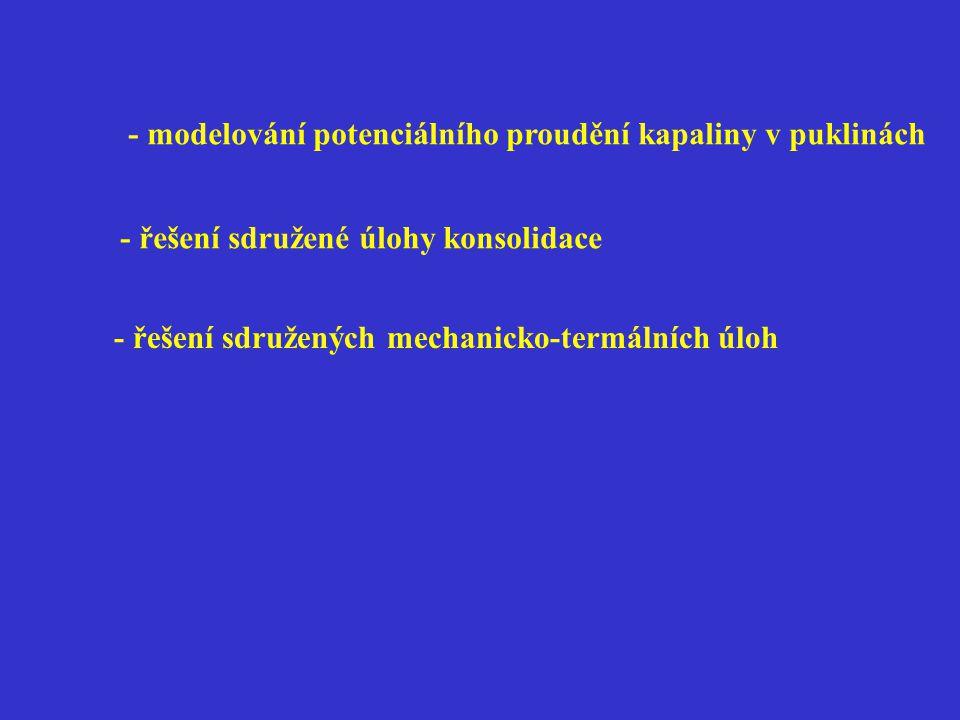 - modelování potenciálního proudění kapaliny v puklinách - řešení sdružené úlohy konsolidace - řešení sdružených mechanicko-termálních úloh