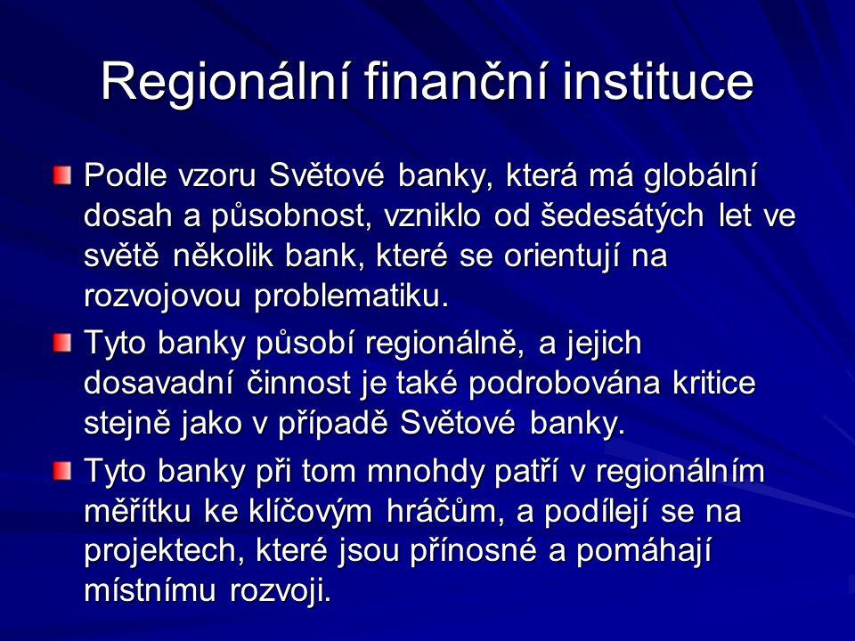Regionální finanční instituce Evropská investiční banka (EIB), založená v roce 1958 Římskou smlouvou, je institucí EU pro poskytování dlouhodobých úvěrů.