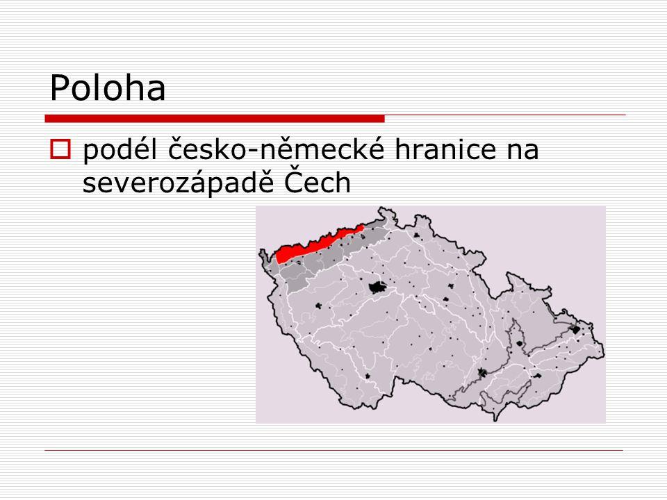 Poloha  podél česko-německé hranice na severozápadě Čech