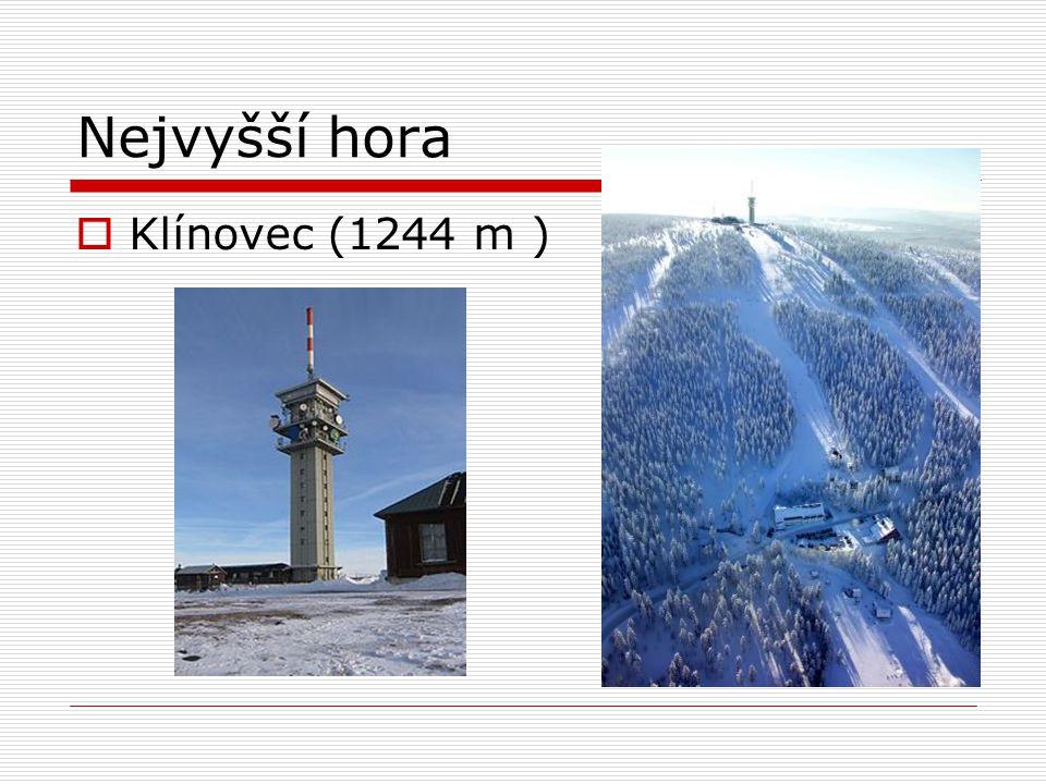 Nejvyšší hora  Klínovec (1244 m )
