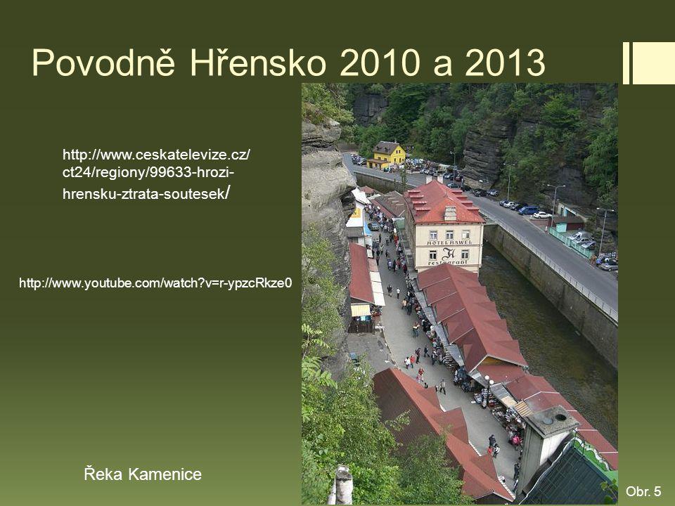 Povodně Hřensko 2010 a 2013 http://www.ceskatelevize.cz/ ct24/regiony/99633-hrozi- hrensku-ztrata-soutesek / Řeka Kamenice http://www.youtube.com/watc