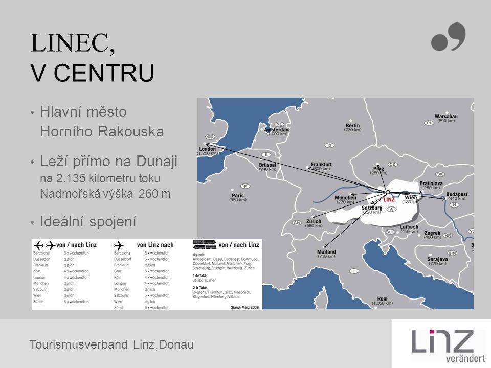 Tourismusverband Linz,Donau LINEC, V CENTRU Hlavní město Horního Rakouska Leží přímo na Dunaji na 2.135 kilometru toku Nadmořská výška 260 m Ideální s