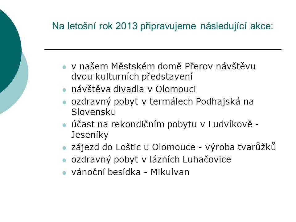 Na letošní rok 2013 připravujeme následující akce: v našem Městském domě Přerov návštěvu dvou kulturních představení návštěva divadla v Olomouci ozdravný pobyt v termálech Podhajská na Slovensku účast na rekondičním pobytu v Ludvíkově - Jeseníky zájezd do Loštic u Olomouce - výroba tvarůžků ozdravný pobyt v lázních Luhačovice vánoční besídka - Mikulvan