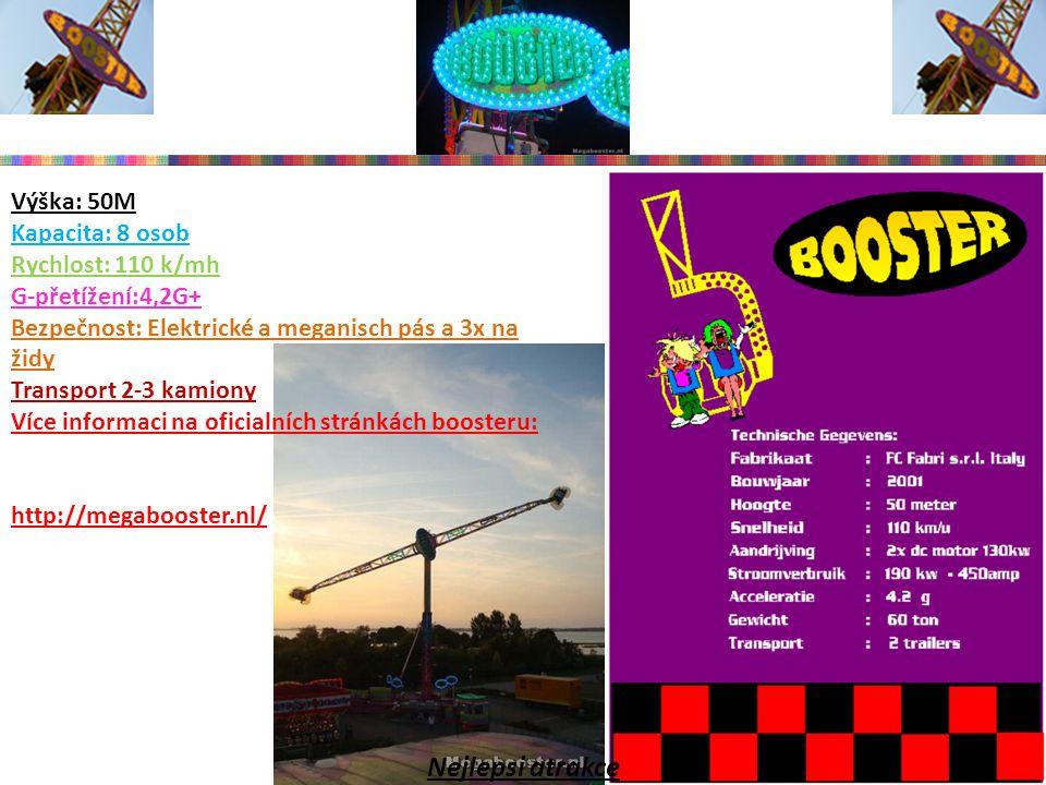 Výška: 18M Kapacita: 24 osob Rychlost: 60 k/mh G-přetížení:1,2G+ Bezpečnost: jednolůžkový zámek zádržný systém Transport 1 kamion Více informaci na oficialních stránkách Fun Fectoru http://amusementfactory.nl/ Nejlepsi atrakce