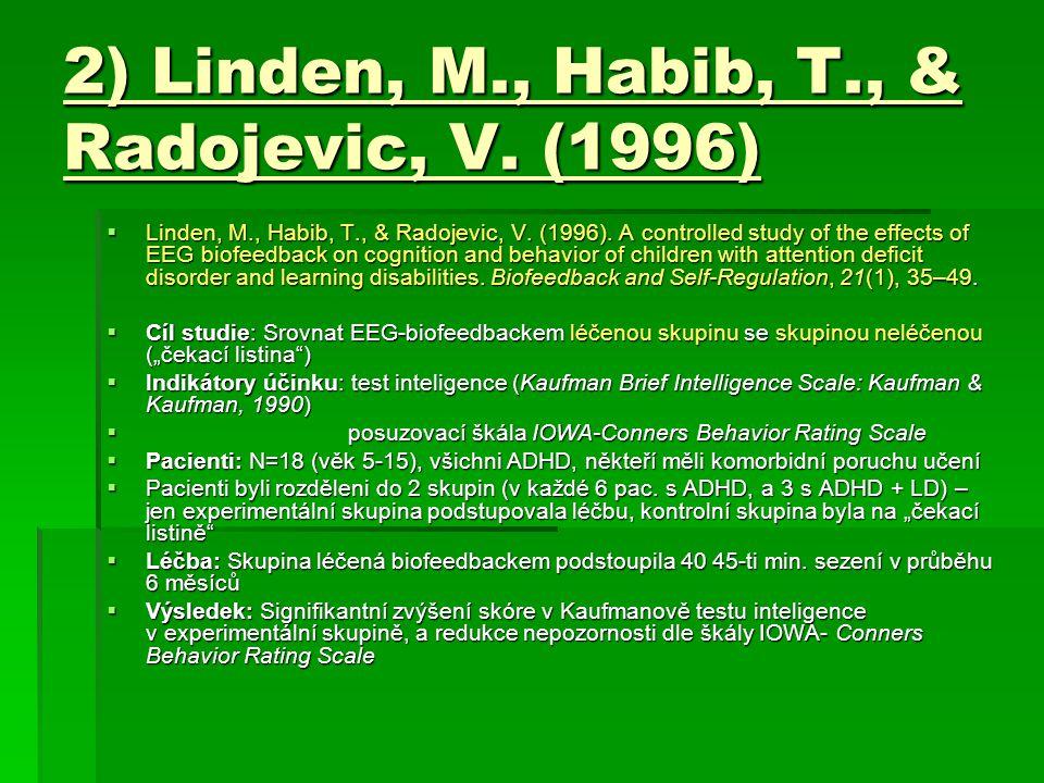 2) Linden, M., Habib, T., & Radojevic, V. (1996)  Linden, M., Habib, T., & Radojevic, V. (1996). A controlled study of the effects of EEG biofeedback