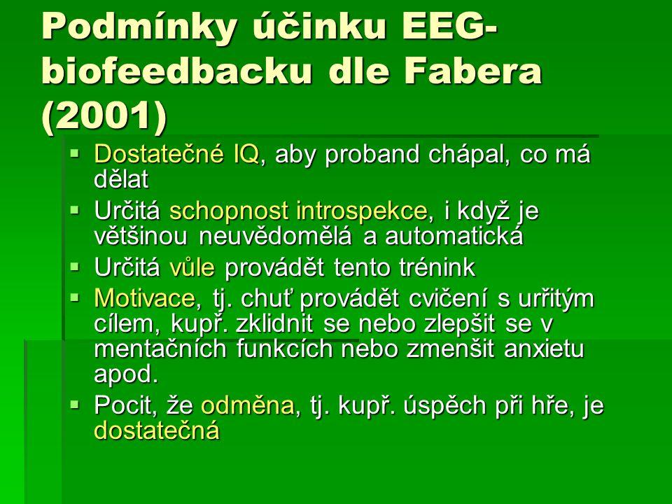 Podmínky účinku EEG- biofeedbacku dle Fabera (2001)  Dostatečné IQ, aby proband chápal, co má dělat  Určitá schopnost introspekce, i když je většino