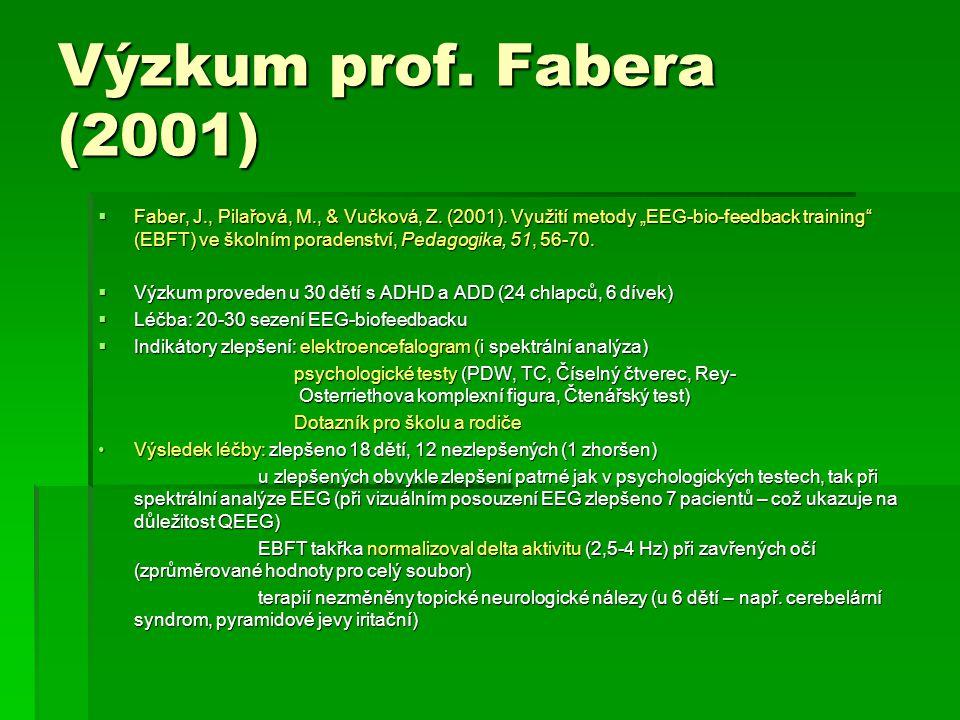 """Výzkum prof. Fabera (2001)  Faber, J., Pilařová, M., & Vučková, Z. (2001). Využití metody """"EEG-bio-feedback training"""" (EBFT) ve školním poradenství,"""