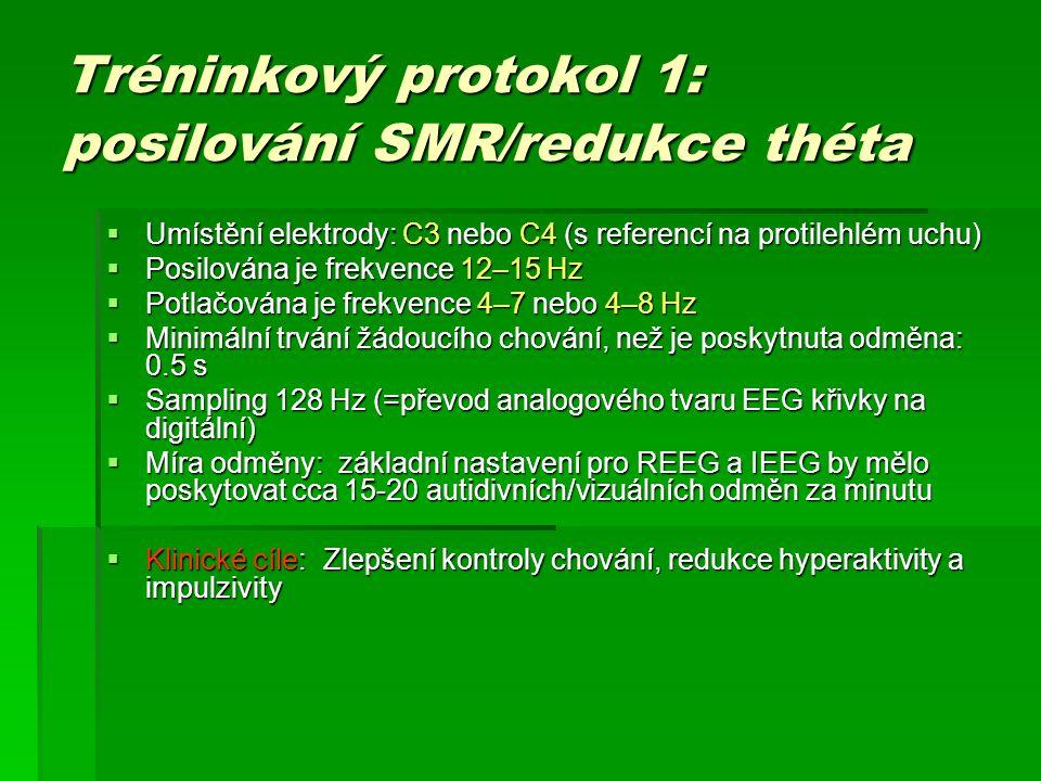 Tréninkový protokol 1: posilování SMR/redukce théta  Umístění elektrody: C3 nebo C4 (s referencí na protilehlém uchu)  Posilována je frekvence 12–15