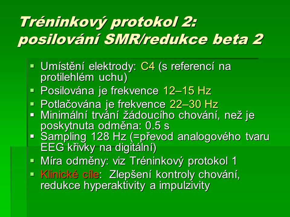 Tréninkový protokol 2: posilování SMR/redukce beta 2  Umístění elektrody: C4 (s referencí na protilehlém uchu)  Posilována je frekvence 12–15 Hz  P
