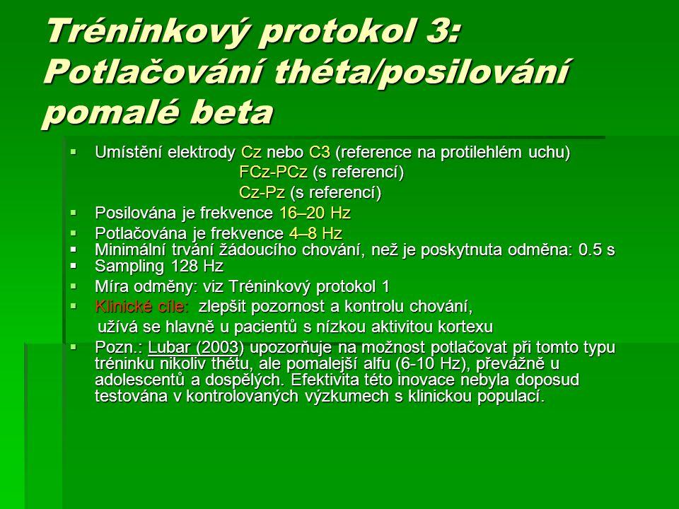Tréninkový protokol 3: Potlačování théta/posilování pomalé beta  Umístění elektrody Cz nebo C3 (reference na protilehlém uchu) FCz-PCz (s referencí)