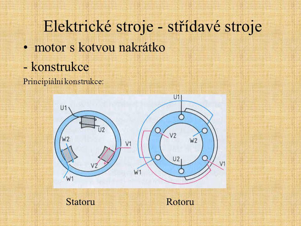 Elektrické stroje - střídavé stroje motor s kotvou nakrátko - konstrukce Vznik točivého magnetického pole proudem trojice cívek statoru: - elektrická fáze (posunutí) proudů musí být 120° - umístění cívek na statoru v rozestupu 120°