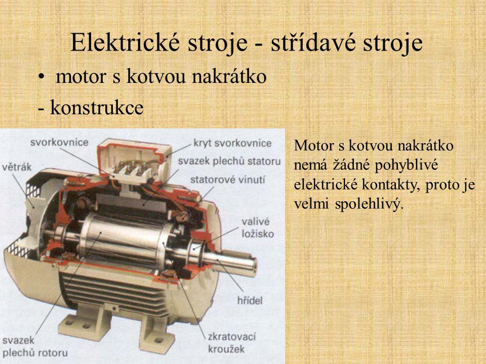 Elektrické stroje - střídavé stroje motor s kotvou nakrátko - konstrukce Motor s kotvou nakrátko nemá žádné pohyblivé elektrické kontakty, proto je velmi spolehlivý.